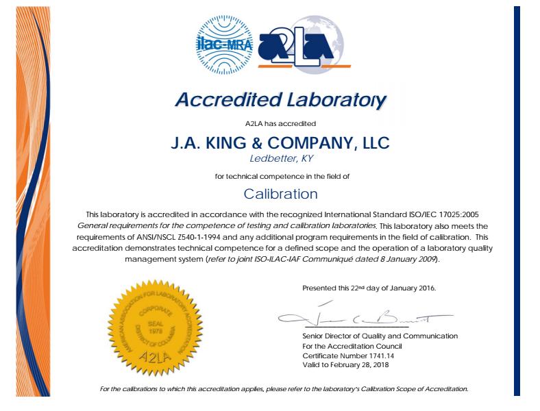 PAD A2LA Certificate