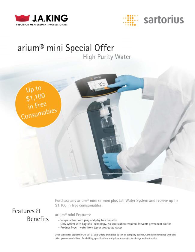 Sartorius arium mini Special 2016