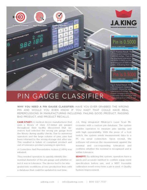 J.A. King Pin Gauge Classifier Sheet Preview