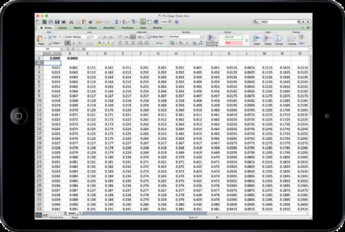 Pin Gage Classifier Database Screenshot